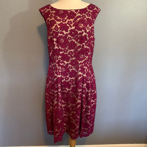 Vince Camuto Berry Lace Overlay Cap Sleeve Dress